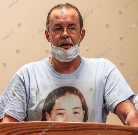 Stock Image of William Long speaks at the the Federal Correctional Complex after witnessing the execution of Wesley Ira Purkey for the murder of his daughter, in Terre Haute, Indiana, USA, 16 July 2020. Wesley Ira Purkey was put to death by lethal injection for the rape and murder of 16 year old Jennifer Long in 1998. Two more executions are scheduled for 17 July and 28 August as the US Justice Department resumed executions after more than 17 years with the execution of Daniel Lewis Lee on 14 July.