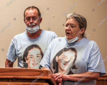 Stock Picture of William Long (L) listens as Olivia Long (wife and stepmother) speaks at the the Federal Correctional Complex after witnessing the execution of Wesley Ira Purkey for the murder of his daughter, in Terre Haute, Indiana, USA, 16 July 2020. Wesley Ira Purkey was put to death by lethal injection for the rape and murder of 16 year old Jennifer Long in 1998. Two more executions are scheduled for 17 July and 28 August as the US Justice Department resumed executions after more than 17 years with the execution of Daniel Lewis Lee on 14 July.