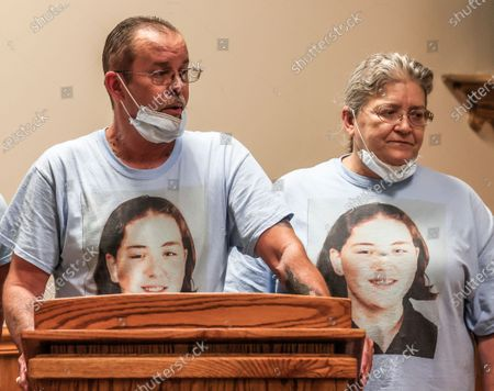 William Long (L) speaks at the the Federal Correctional Complex after witnessing the execution of Wesley Ira Purkey for the murder of his daughter as Olivia Long (wife and stepmother) listens, in Terre Haute, Indiana, USA, 16 July 2020. Wesley Ira Purkey was put to death by lethal injection for the rape and murder of 16 year old Jennifer Long in 1998. Two more executions are scheduled for 17 July and 28 August as the US Justice Department resumed executions after more than 17 years with the execution of Daniel Lewis Lee on 14 July.