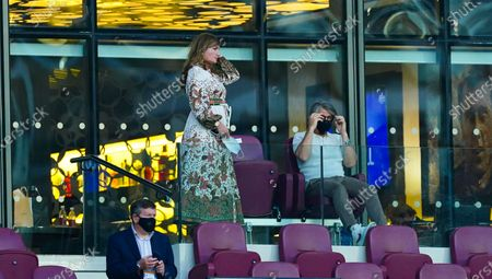 Karren Brady looks on alongside her husband Paul Peschisolido