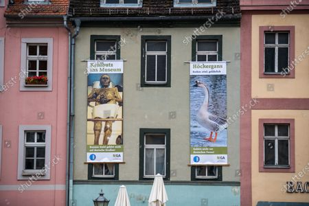 A facade adorned with advert banners during a demonstration against a rally by the German right-wing party 'Alternative für Deutschland' ('Alternative for Germany', AfD) in Altenburg, Germany, 16 January 2019. According to media reports, Alternative for Germany party (AfD) faction chairman in the regional parliament of Thuringia Bjoern Hoecke and Alternative for Germany party (AfD) faction chairman in the regional parliament of Brandenburg Andreas Kalbitz, will speak to supporters of the party in the evening.