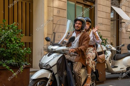 Milan fashion week 2020, fashion show, Etro, guest of the fashion show Valentina Ferragni and her boyfriend Luca Vezil leave the parade on a scooter.