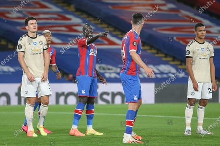 Crystal Palace #12 Mamadou Sakho gestures during the Premier League match between Crystal Palace and Manchester United at Selhurst Park, London
