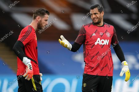 Manchester United Goalkeeper David De Gea and Manchester United Goalkeeper Sergio Romero warm up and gesture during the Premier League match between Crystal Palace and Manchester United at Selhurst Park, London