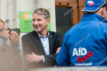 Stock Image of Alternative for Germany party (AfD) faction chairman in the regional parliament of Thuringia Bjoern Hoecke during a rally by the German right-wing party 'Alternative fur Deutschland' ('Alternative for Germany' AfD) in Altenburg, Germany, 16 July 2020.