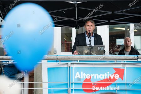 Stock Picture of Alternative for Germany party (AfD) faction chairman in the regional parliament of Thuringia Bjoern Hoecke speaks to supporters during a rally by the German right-wing party 'Alternative fur Deutschland' ('Alternative for Germany' AfD) in Altenburg, Germany, 16 July 2020.