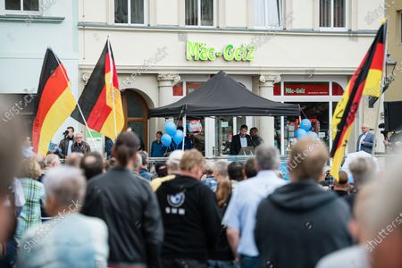 Alternative for Germany party (AfD) faction chairman in the regional parliament of Thuringia Bjoern Hoecke speaks to supporters during a rally by the German right-wing party 'Alternative fur Deutschland' ('Alternative for Germany' AfD) in Altenburg, Germany, 16 July 2020.