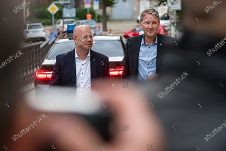 Alternative for Germany party (AfD) faction chairman in the regional parliament of Thuringia Bjoern Hoecke (R) and AfD faction chairman in the regional parliament of Brandenburg Andreas Kalbitz (L) arrive prior a rally by the German right-wing party 'Alternative fuer Deutschland' in Altenburg, Germany, 16 July 2020.