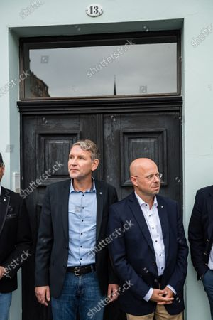 Alternative for Germany party (AfD) faction chairman in the regional parliament of Thuringia Bjoern Hoecke (L) and AfD faction chairman in the regional parliament of Brandenburg Andreas Kalbitz (R) arrive to attend a rally by the German right-wing party 'Alternative fuer Deutschland' in Altenburg, Germany, 16 July 2020.