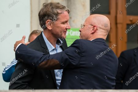 Alternative for Germany party (AfD) faction chairman in the regional parliament of Thuringia Bjoern Hoecke (L) and AfD faction chairman in the regional parliament of Brandenburg Andreas Kalbitz (R) attend a rally by the German right-wing party 'Alternative fuer Deutschland' in Altenburg, Germany, 16 July 2020.