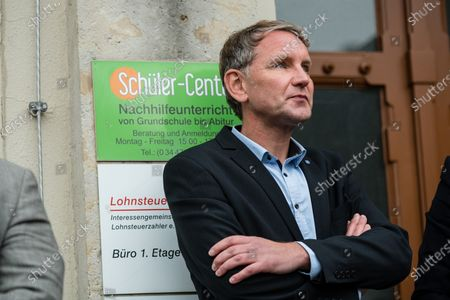 Alternative for Germany party (AfD) faction chairman in the regional parliament of Thuringia Bjoern Hoecke during a rally by the German right-wing party 'Alternative fur Deutschland' ('Alternative for Germany' AfD) in Altenburg, Germany, 16 July 2020.