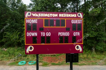 An image made with a drone shows a scoreboard at Redskins Park, headquarters of the football team formally known as the Washington Redskins in Ashburn, Virginia, USA, 16 July 2020. A Washington Post report published 16 July details claims from 15 women who say they faced sexual harassment and verbal abuse from team employees at Redskins Park.