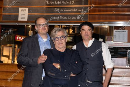 Stock Picture of Eric Friedler, Wim Wenders and Andreas Frege attend the premiere of the documentary, 'Wim Wenders, Desperado'