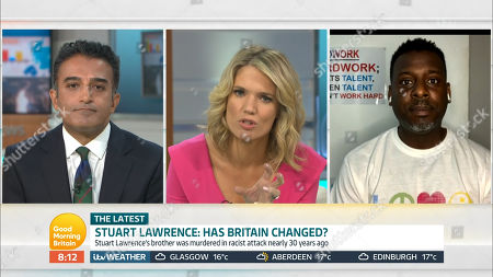 Adil Ray, Charlotte Hawkins and Stuart Lawrence