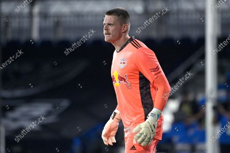 Stock Photo of New York Red Bulls goalkeeper David Jensen (1) calls out instructions during an MLS soccer match against the Atlanta United, in Kissimmee, Fla