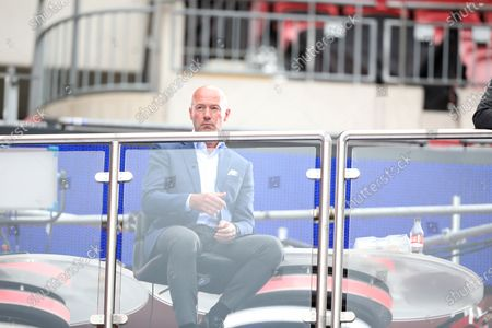 Alan Shearer watches the game, whilst working for the BBC Match of the Day team at the Emirates FA Cup Semi-Final match Chelsea v Manchester United, at Wembley Stadium, London, UK on July 19, 2020.The match is being played behind closed doors because of the current COVID-19 Coronavirus pandemic, and government social distancing/lockdown restrictions.