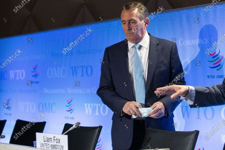 Candidate for Director General of the World Trade Organization (WTO), Liam Fox from United Kingdom, attends the press conferences of candidates for the WTO Director-General selection process, at the headquarters of the World Trade Organization (WTO) in Geneva, Switzerland, 17 July 2020.