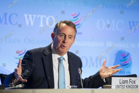 Candidate for Director General of the World Trade Organization (WTO), Liam Fox from United Kingdom, speaks during the press conferences of candidates for the WTO Director-General selection process, at the headquarters of the World Trade Organization (WTO) in Geneva, Switzerland, 17 July 2020.