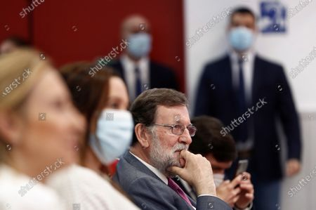 Spanish former Prime Minister Mariano Rajoy (R) during the presentation of the book 'El Banco Central Europeo. Propuestas de reforma' (lit, The European Central Bank. Proposals for reform) by Fernando Martinez-Maillo in Madrid, Spain, 17 July 2020.