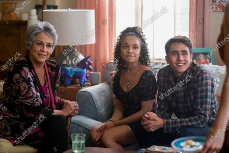 Terri Hoyos as Victor's Grandmother, Rachel Hilson as Mia Brooks and Michael Cimino as Victor Salazar
