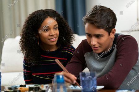 Rachel Hilson as Mia Brooks and Michael Cimino as Victor Salazar