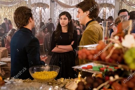 Stock Image of George Sear as Benji, Isabella Ferreira as Pilar Salazar and Lukas Gage as Derek