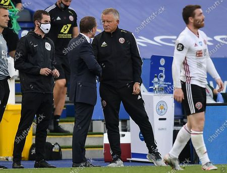 Chris Wilder manager of Sheffield United and Brendan Rogers manager of Leicester City at full time