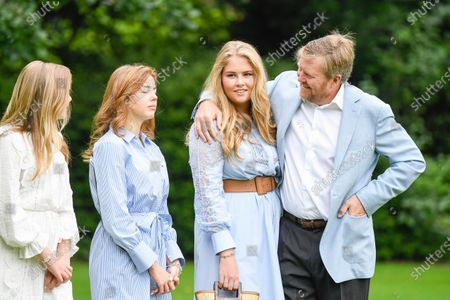 King Willem-Alexander of the Netherlands with his daughters Princess Amalia, Princess Alexia and Princess Ariane