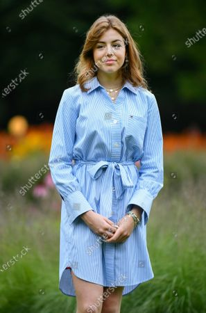 Stock Photo of Netherlands' Princess Alexia poses in the garden of royal palace Huis ten Bosch in The Hague, Netherlands, during an official photo session at the start of the summer holiday