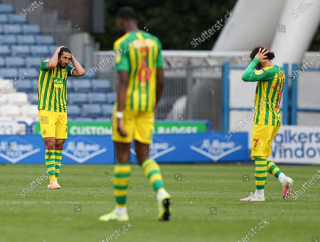 Ahmed Hegazi of West Bromwich Albion looks dejected after the 2nd goal scored by Emile Smith Rowe of Huddersfield Town