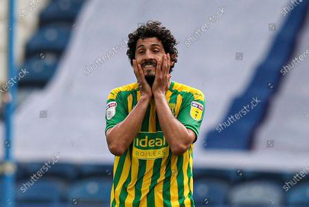 Ahmed Hegazi of West Bromwich Albion looks dejected