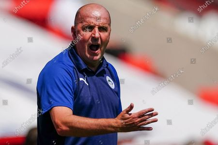 Paul Cook Wigan Athletic Manager shouts from the sideline