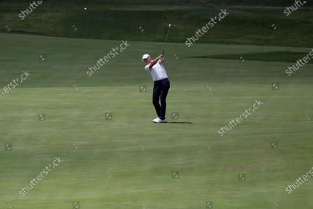 Steve Stricker hits from the 17th fairway during the second round of the Memorial golf tournament, in Dublin, Ohio