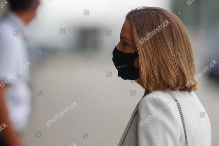 Deputy team principal of the Williams Formula One racing team Claire Williams arrives to the Hungaroring racetrack in Mogyorod, Hungary, Thursday, July 16, 2020. The Hungarian Formula One Grand Prix race will take place on Sunday. (AP photo/Darko Bandic)