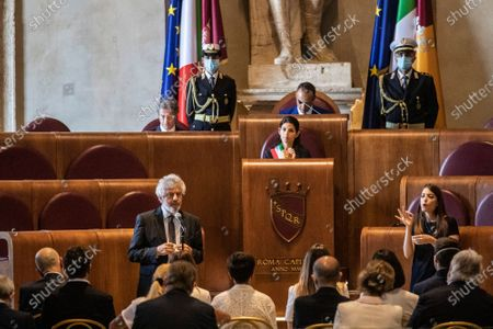 Pianist, composer and conductor Nicola Piovani during his speech, Mayor of Rome Virginia Raggi at the etraordinary assembly for the Maestro Ennio Morricone