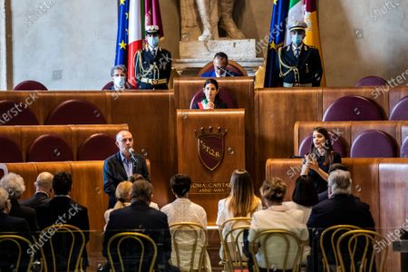 Director Giuseppe Tornatore during his speech, Mayor of Rome Virginia Raggi at the etraordinary assembly for the Maestro Ennio Morricone