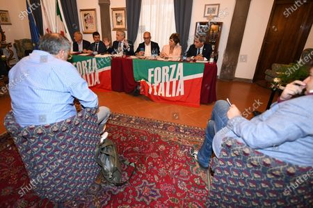 Stock Picture of Vice President of Forza Italia party Antonio Tajani during the meeting with the Tuscan economic categories