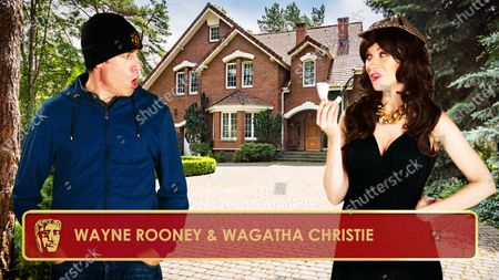 Stock Photo of Stephen Mangan & Rachel Parris as Wanye & Colleen Rooney during the opening monologue for the 2020 British Academy Television Craft Awards