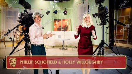 Stephen Mangan & Rachel Parris as Phillip Schofield & Holly Willoughby during the opening monologue for the 2020 British Academy Television Craft Awards