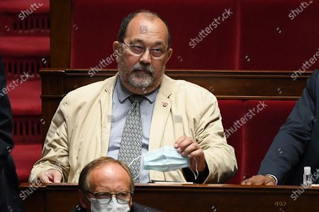 Stock Photo of Jerome Lambert during the session of questions to the government at the National Assembly
