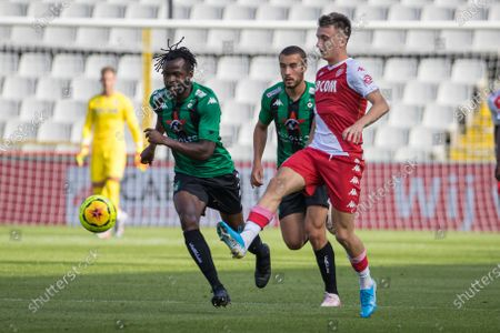Cercle's Johanna Omolo and Monaco's Aleksandr Golovin fight for the ball during a friendly soccer game between Belgian team Cercle Brugge KSV and French club AS Monaco, Friday 17 July 2020 in Brugge, in preparation of the upcoming 2020-2021 season.