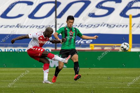 Monaco's Keita Balde and Cercle's Naomichi Ueda fight for the ball during a friendly soccer game between Belgian team Cercle Brugge KSV and French club AS Monaco, Friday 17 July 2020 in Brugge, in preparation of the upcoming 2020-2021 season.