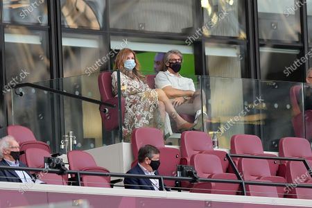 Karren Brady watches from the stands during the West Ham vs Watford Premier League Football held behind closed doors