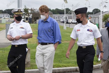 Stock Photo of United States Congressman Joseph Kennedy III (C) talks with Captaoin Michael Burns Jr. (L) and Cadet Dominic Vaccari (R) at the Massachusetts Maritime Academy during a campaign stop in Buzzards Bay, Massachusetts, USA, 17 July 2020. Congressman Kennedy is challenging Senator Ed Markey in the Democratic Primary to be held on 01 September 2020.