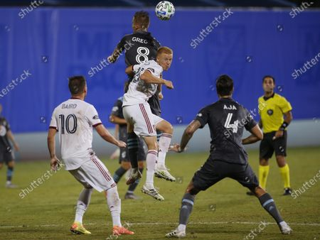 Stock Picture of Referee Alex Cailowicz, back right, watches as Real Salt Lake forward Corey Baird (10) and Minnesota United defender Jose Aja (4) wait for a header to rebound between Real Salt Lake defender Justen Glad (15) and Minnesota United midfielder Jan Gregus (8) during the second half of an MLS soccer match in Kissimmee, Fla., early