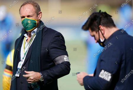 Former Springbok captain Francois Pienaar (L) and Cricket South Africa director of cricket, Graeme Smith (R) wear BLM (Black Lives Matter) arm bands prior to the 3TC Solidarity Cup cricket match at SuperSport Park, Pretoria, South Africa, 18 July 2020. Ngidi supports the LBM (Black Lives matter) movement which has seen controversial reactions from members of the South Africa cricket community. 3TC is a 3 team limited overs cricket match in which 3 teams go head-to-head-to-head in a single match. It is the newest format of cricket.