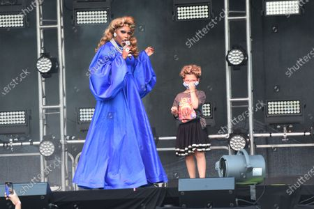 Asia O'Hara performs during Drive 'N Drag at Westfield Garden State Plaza, in Paramus, NJ.