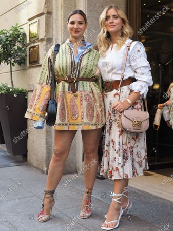 Milan, Italy: 15 July 2020: Beatrice Valli, Valentina Ferragni, posing for photographers after Etro fashion show. During Milano digital fashion week.