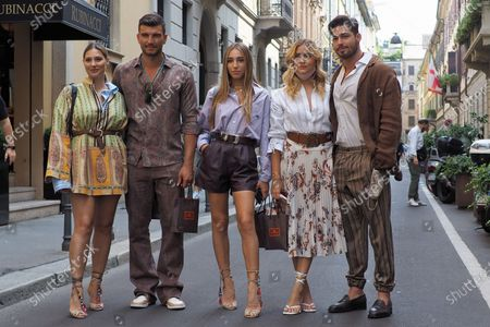 Milan, Italy: 15 July 2020: Beatrice Valli, Valentina Ferragni, Marco Fantini, Luca Vezil, Ginevra Mavilla, posing for photographers after Etro fashion show. During Milano digital fashion week