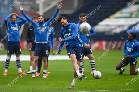 Preston North End FC Forward David Nugent (35) warming up before the EFL Sky Bet Championship match between Preston North End and Birmingham City at Deepdale, Preston